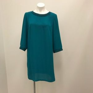 H & M Teal Pullover Button Accent Chic Dress sz 14